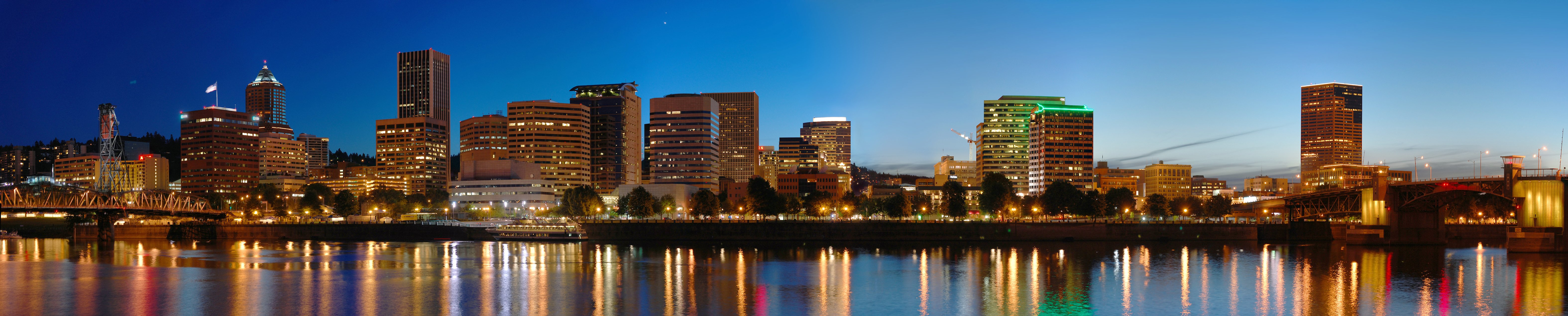 A gorgeous view of downtown Portland at dusk.