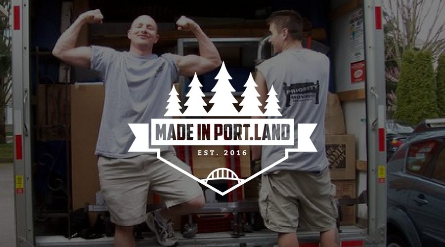 Made in Portland logo on top of Priority Moving's professional movers.