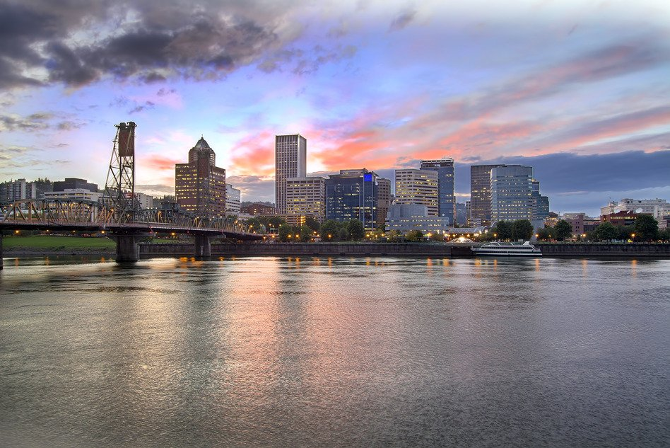 Portland Oregon Skyline at Sunset