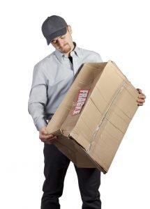 Delivery Man Holding Damaged Fragile Box