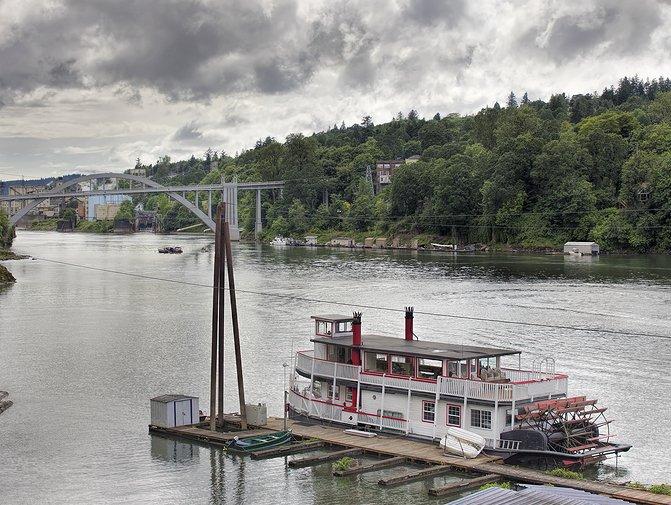 Historic Sternwheeler Docked Along Willamette River Near West Linn