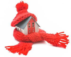 Toy House Bundled Up in Scarf and Hat