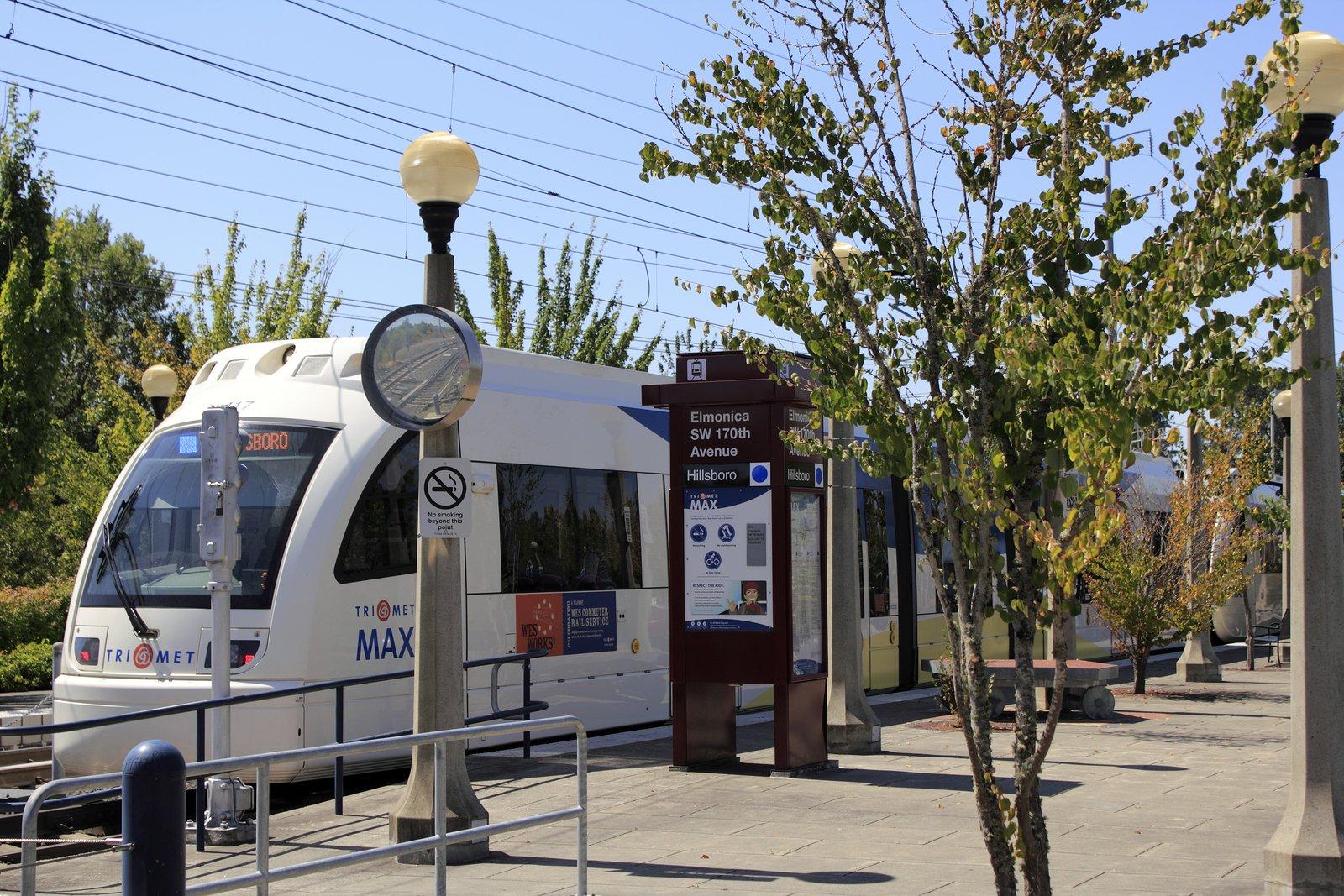 Trimet Commuter Rail in Beaverton Oregon