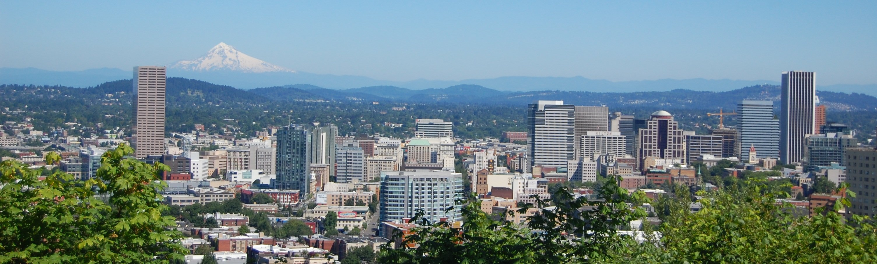 A stunning view of Northwest Portland with a view of Mount Hood.
