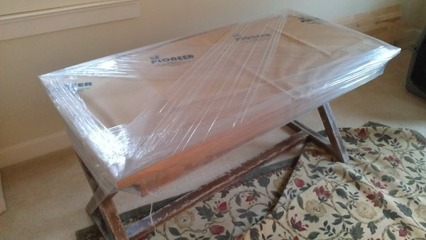 Safely wrapped table for moving