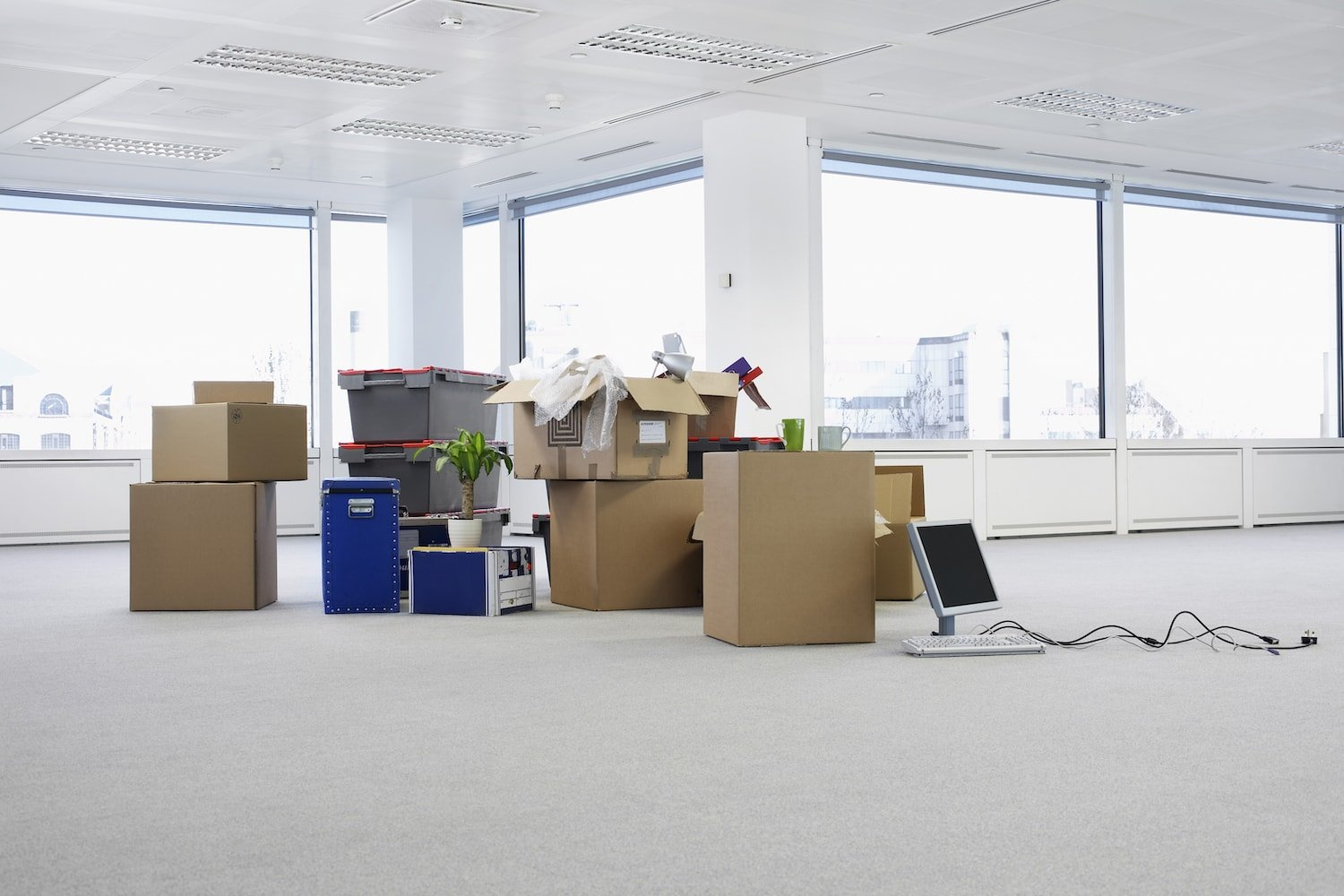 Packed up office for business relocation