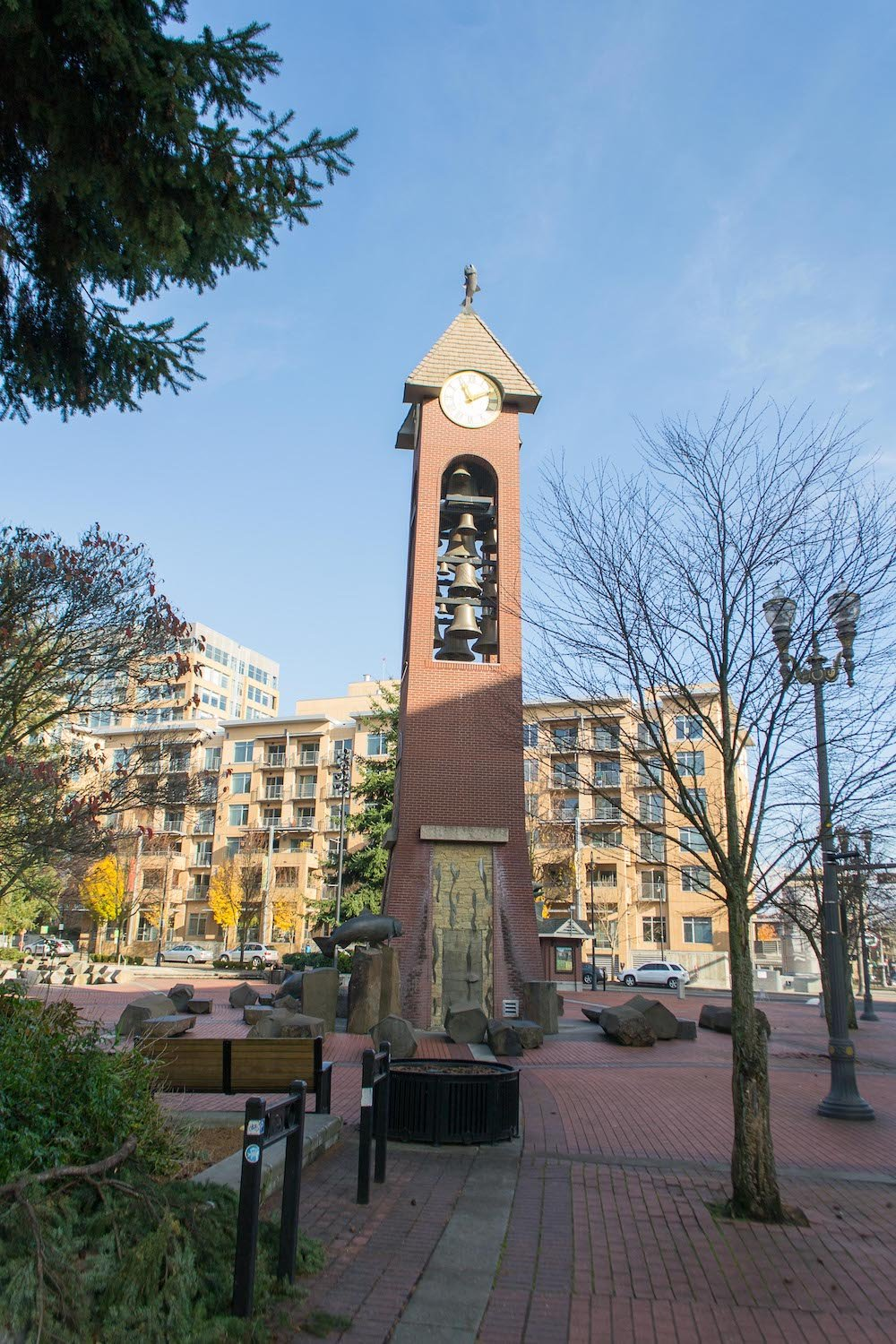 Esther Short Park clock tower in Vancouver WA