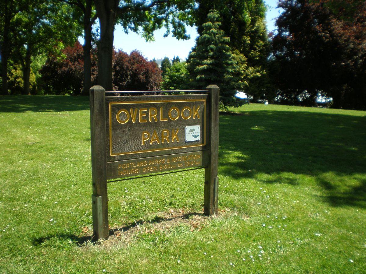 Overlook park sign in North Portland