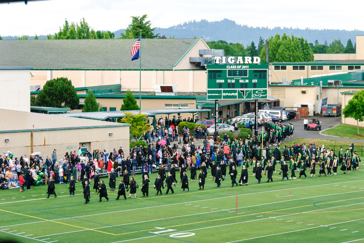 Graduation ceremony at Tigard High School