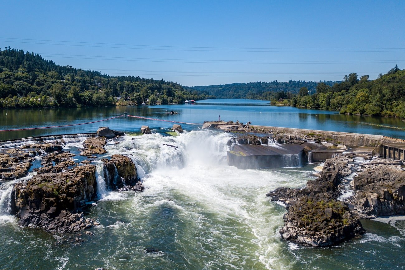 Willamette Falls at Oregon City aerial
